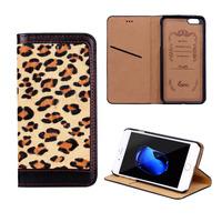 Luxury Genuine Leather Leopard Wallet Case For IPhone 6 6s Plus 7 7 Plus Horse Hair
