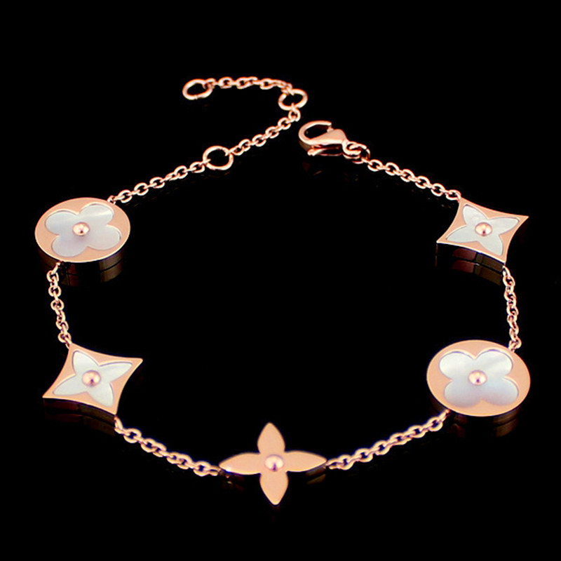 Classic Round square Clover bracelet white Shell filled charm Bracelet for women titanium steel plated rose gold color jewelry