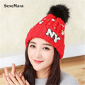 Fashion Design Winter Hats Women Thick Knitted Beanies Ladies Pom Poms Female Caps Warm Outdoor Snow Fur Hat LH001