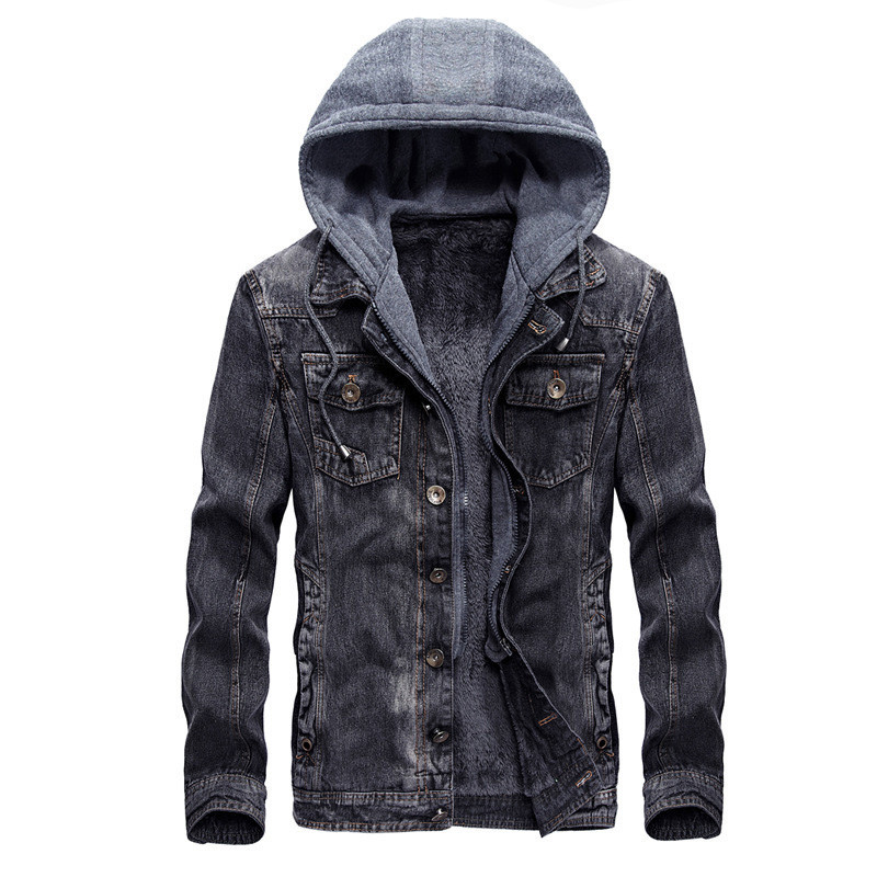 Fashion Mens Warm Denim Jackets Hooded Fleece Lined Jeans Jacket Detachable Coats