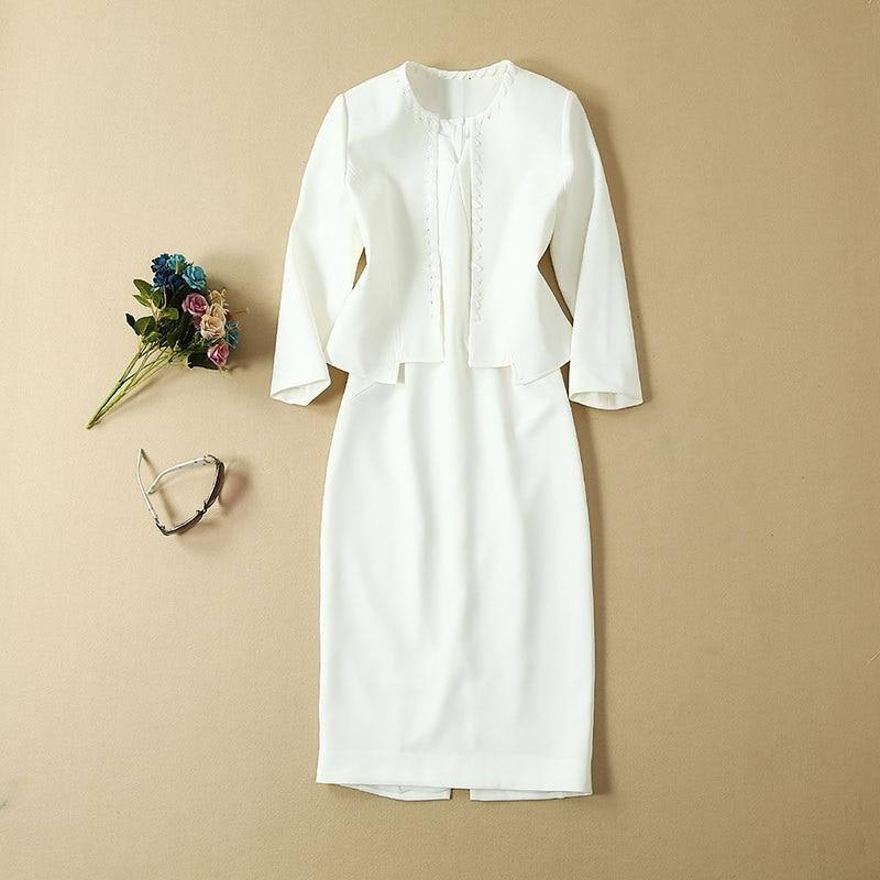 Top Grade Designer vêtements costumes automne ensembles femmes croix chaîne Cardigan vestes + sans manches moulante robe crayon rouge blanc dame - 2
