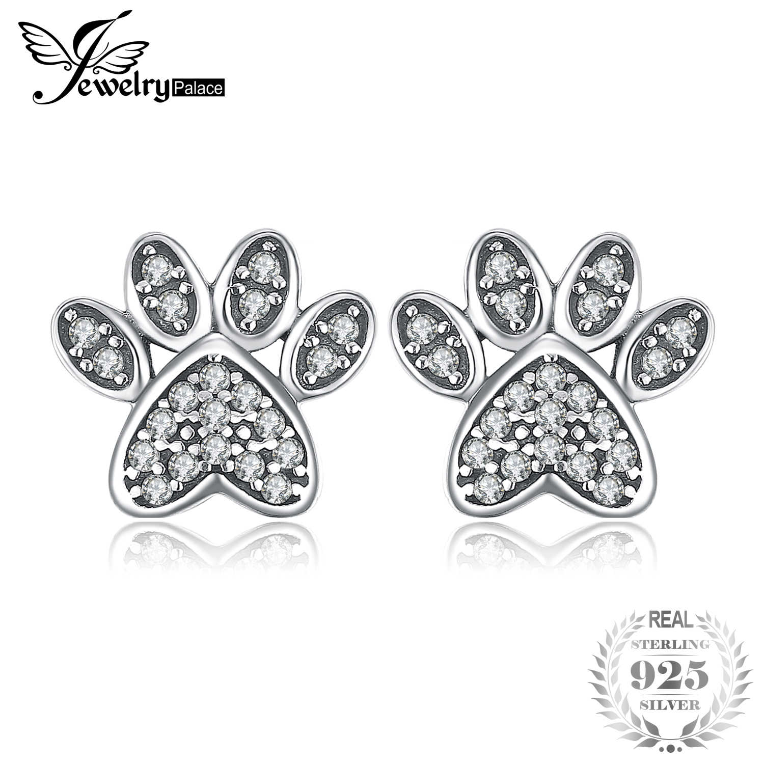 8aeb307c2 JewelryPalace Vintage Dog Paw Fingerprint Pave 0.2ct Cubic Zirconia Stud  Earrings 925 Sterling Silver Fashion
