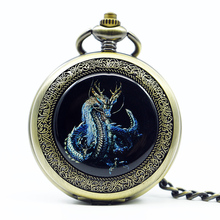 Mechanical Hand Wind dragon Pocket Watch Steampunk Roman Numbers Steel Fob Watches Men Clock PJX1232