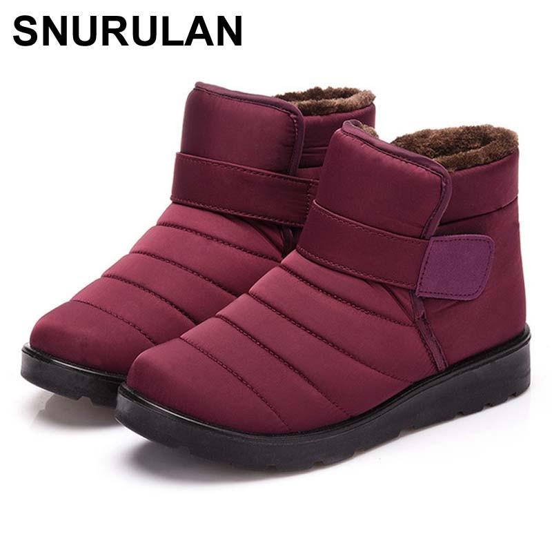SNURULAN impermeable invierno botas mujeres 2018 botas cortas de tobillo para las mujeres invierno zapatos mujer plana zapatos hook loop bottes femmeE016