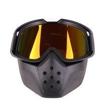 Men Women Motocross Mask Goggles Glasses Detachable And Mouth Filter for Open Face Moto Half Helmet or Vintage Helmets