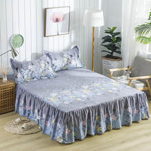 Waterproof Brief Flowers Printing Bed Skirt With Surface Bed Mattress Cover Sheet Home Textile Bed Linens(43cm Height)(China)