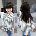 2016 Autumn Children's Clothing Girls Shirts Cardigan Striped Children Outwear Turn-Down Collar Girl Blouse Kids Shirts 2-11T
