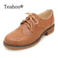 PLUS Size 34 43 Brogue Oxford Shoes Women Flats New Autumn 2015 Fashion Women Shoes Sapatos