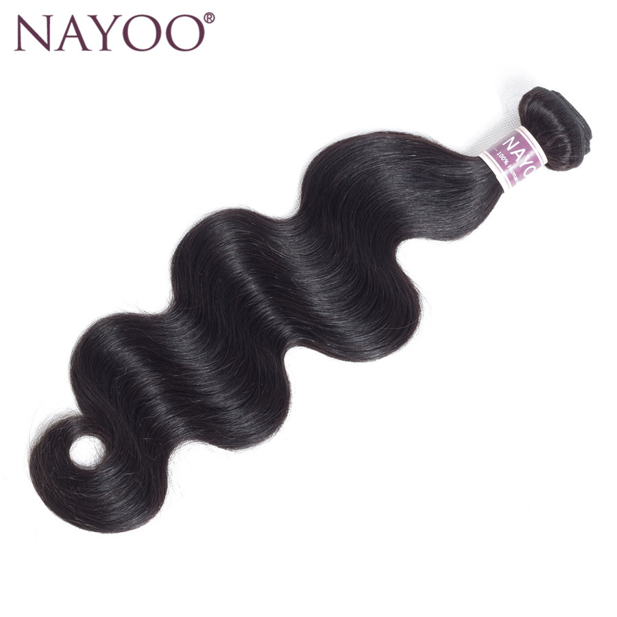 NAYOO Brazilian Body Wave No Tangle Hair Extensions 8-26 inch 100% Human Hair Weave Bundles 1 Piece Non Remy Hair Natural Color