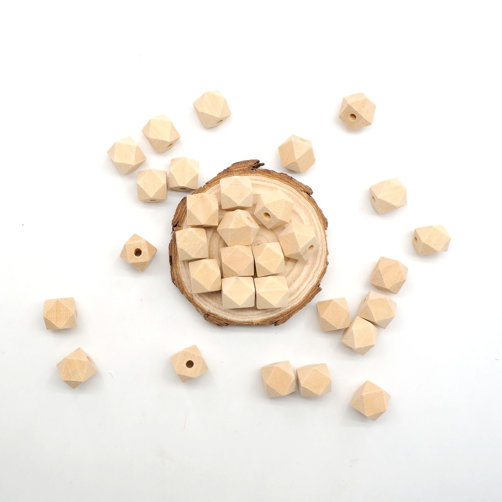 Chenkai 100PCS 10mm Unfinished Wooden Beads Hexagon Geometric Natural beads For DIY Infant Sensory Pacifier Accessories