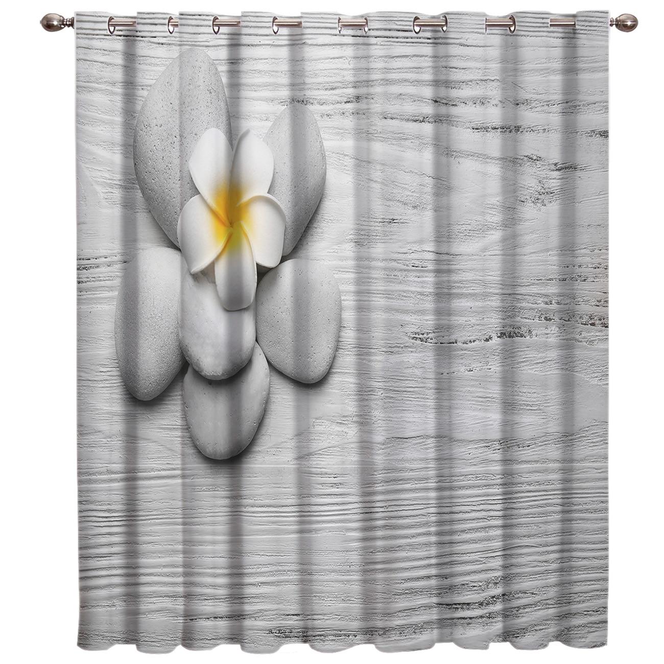 Graystone Zen Flower Art Window Curtains Dark Curtain Rod Bathroom Fabric Print Decor Window Treatment Ideas Window Treatment