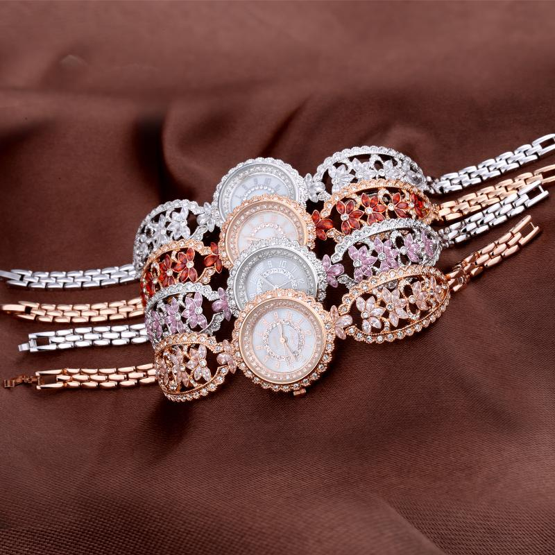 Luxury Rhinestone Women Floral Bangle Watches Vintage Palace Style Lady Bracelet Wrist watch Quartz Dress Relogio Montre femme free silver bracelet watch set full diamond bangle watch lady luxury dress jewelry charm watch rhinestone bling crystal bangle