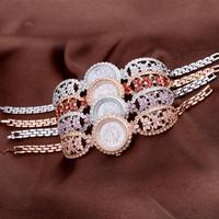 Luxury Rhinestone Women Floral Bangle Watches Vintage Palace Style Lady Bracelet Wrist watch Quartz Dress Relogio Montre femme