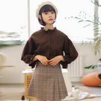 Youg Women Summer Tee Female 2018 New Arrivals Loose Solid Ruffled Full Sleeve Polyester Shirts Office