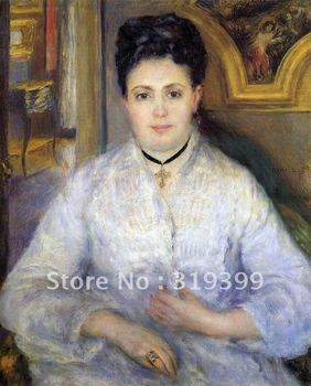 Oil Painting Reproduction on linen canvas,portrait of madame chocquet by pierre auguste renoir,FreeShipping,handmade,museum qual