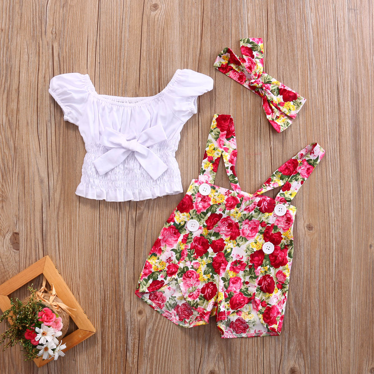 Kids Baby Girl Off Shoulder T shirt Tops +Floral Pants Overalls Headband 3pcs Outfits Clothes Set Summer Clothing 0-4Y 3pcs kids baby clothes girl lace floral tops t shirt pants shorts outfits set children infant girls clothing