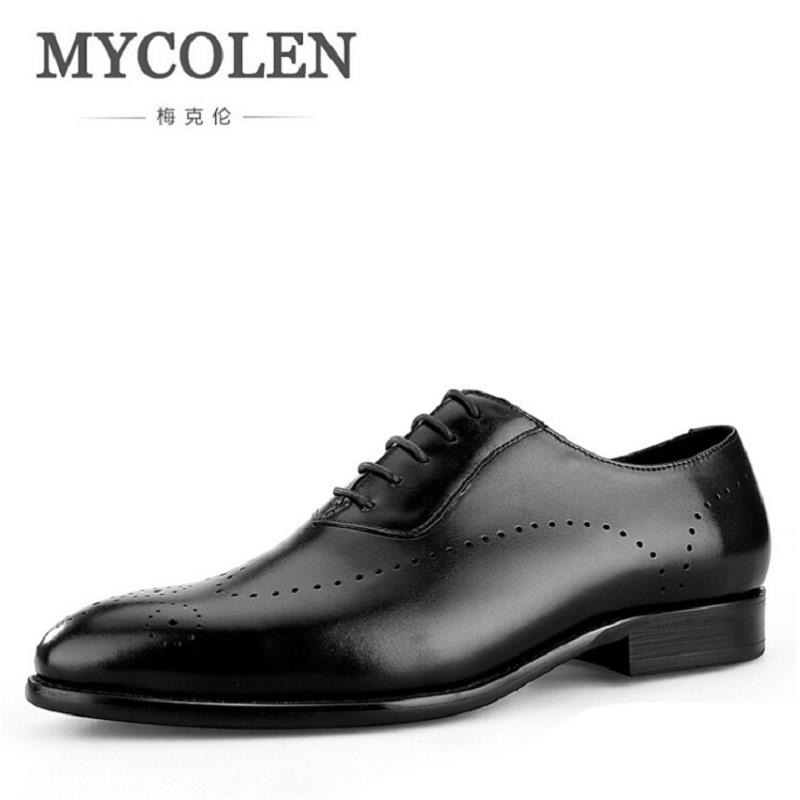 MYCOLEN Fashion Genuine Leather Oxford Shoes Lace Up Casual Business Men Suit Shoes Men Brand Leather Wedding Brogue Shoes green casual lace beaded suit