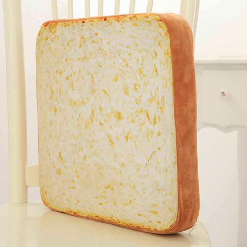 Fashion Cushion Cover Soft Warm Plush Toast Bread Slice