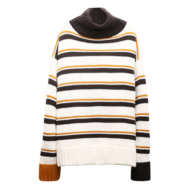 Autumn winter maternity clothes High collar stripe pregnant women sweater maternity long sweater coat Loose type