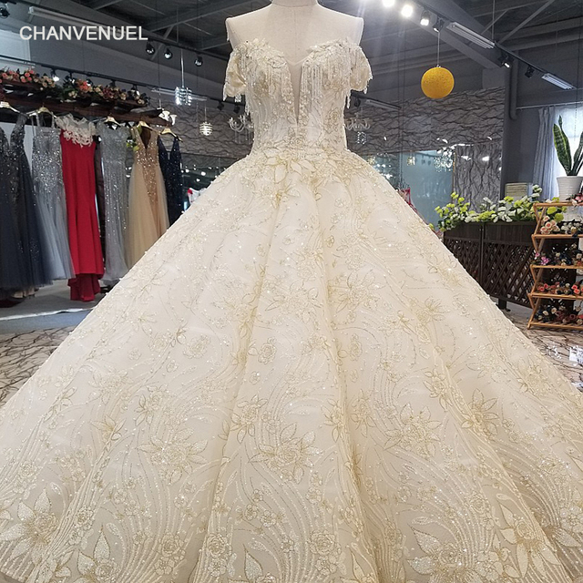 e6f1c87c6b62 LS65119 sweetheart wedding dress with beads off shoulder champagne bridal  wedding dressing gown long cape 2018 latest design