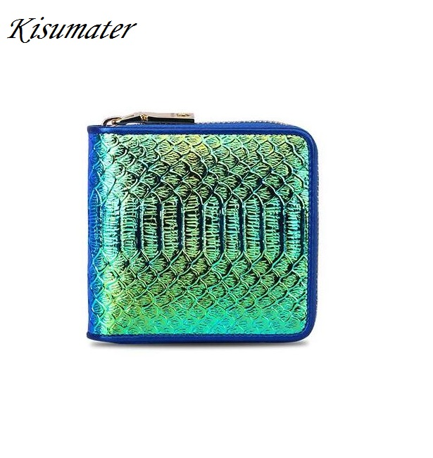 2017 New Mini Crocodile Purse Women's Hologram Wallet Cowhide Leather handbag Laser Silver Bag Free Shipping Blue Color yuanyu new 2017 new hot free shipping crocodile women handbag single shoulder bag thailand crocodile leather bag shell package