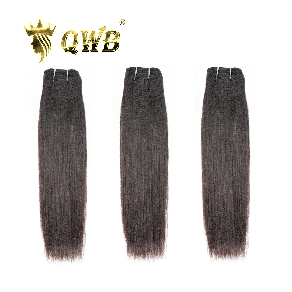QUEEN WEAVE BEAUTY QWB Free Shipping Light Yaki 3Bundle/Lots 12''~24'' Brazilian Virgin Human Hair Extension Waving(China)