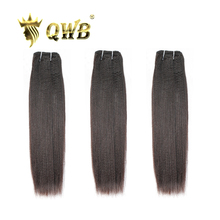 Qwb frete grátis luz yaki 3 pacote/lotes 12 ratio 24 24 24 ratio relação profissional virgem brasileiro cor natural extensão do cabelo humano
