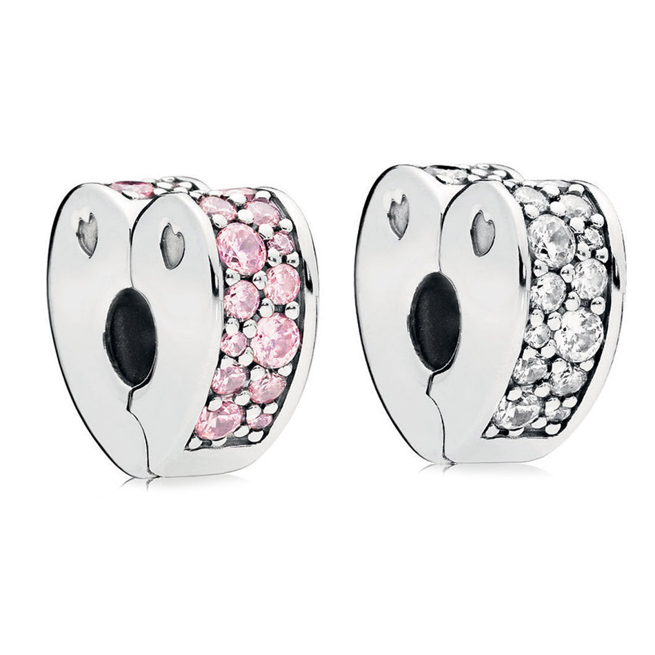 925 Sterling Silver Stopper Bead Charm Sparkling Pink Arcs of Love Clip Clear CZ Fit Pandora Bracelet Bangle Girl DIY Jewelry