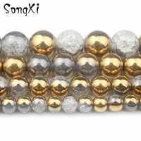 Vergoldet Weißen Schnee Geknackt quarz Stein 6 8 10 12mm Runde Lose Perlen für Schmuck Machen DIY Armband kristall Perles 15 Zoll