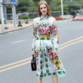 2017 Runway Designer New Spring Summer Skirt Suit Women's Flowers Print Long Sleeves Blouse+Pleated Half Skirt Two Piece Set