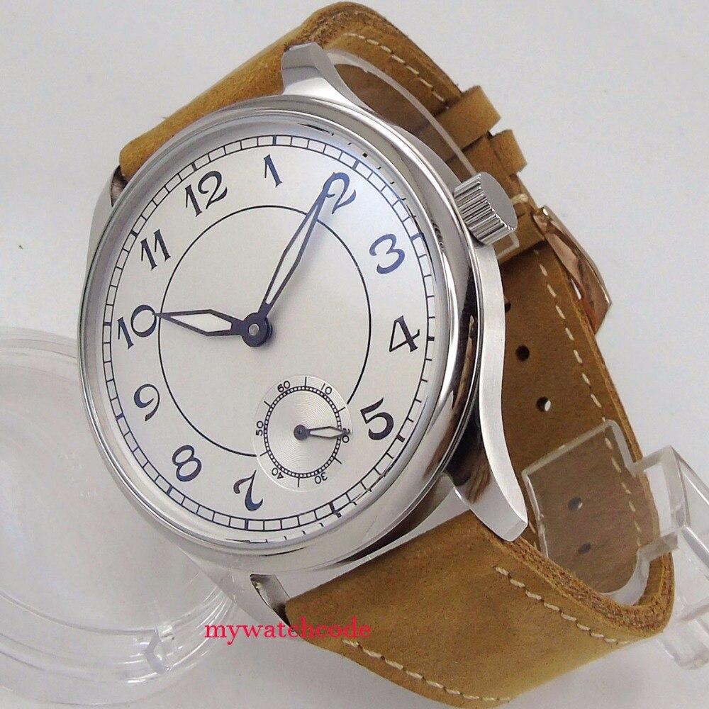 все цены на vintage style 44mm parnis white sterile dial leather asia 6498 hand winding men watch онлайн