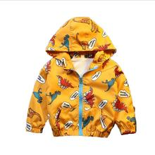 Новинка года, Осенняя детская куртка Верхняя одежда для мальчиков, пальто ветровка для активных мальчиков, Лидер продаж, весеннее Детское пальто с милым динозавром одежда для малышей