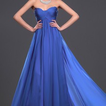 Новое Вечернее платье без бретелек со шлейфом Королевского синего цвета