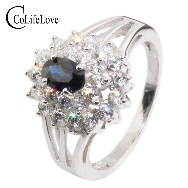 все цены на Elegant silver sapphire ring 4 mm * 6 mm genuine dark blue sapphire real 925 silver 0.5 ct sapphire wedding ring romantic gift онлайн