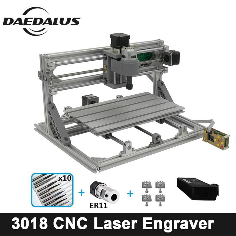 CNC 3018 Graveur Bois Routeur Avec ER11 Laser Machine de Gravure, 3 Axes Graveur, Mini Fraiseuse Avec Contrôleur Hors Ligne
