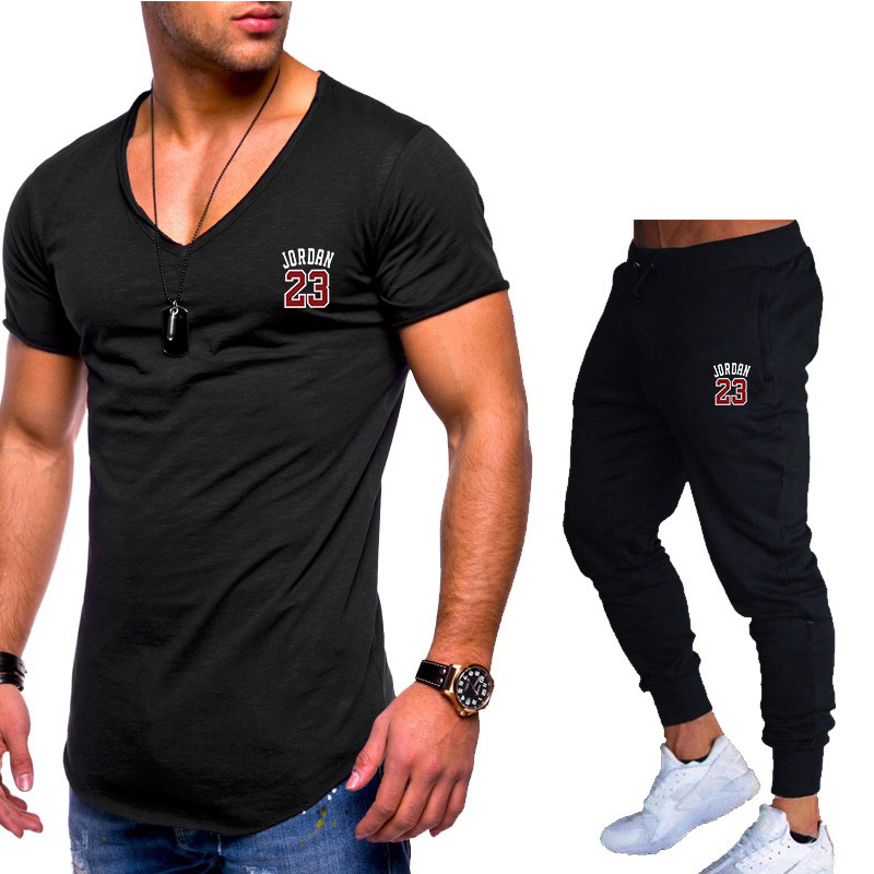 New Men's Sets T Shirts+Pants Men Brand Clothing Two Piece Suit Tracksuit Fashion Casual Tshirts Gyms Workout Fitness Sets