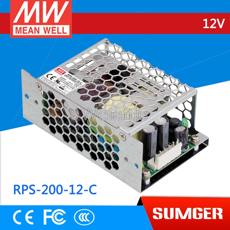 MEAN WELL original RPS-200-12-C 12V 16.7A meanwell RPS-200 12V 200.4W Single Output Green Medical Type original meanwell rps 160 12 single output 160w 12v 12 9a mean well medical open frame type power supply rps 160 pcb type