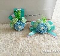 Handmade wedding wrist flower bride bridesmaids Best man Groom boutonniere corsages bridal wedding flowers FREE SHIPPING