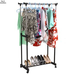 Portable Adjustable Clothing Racks Double Clothes Garment Drying Hanging Racks Hangers With Castors and Shoe Rack N20A