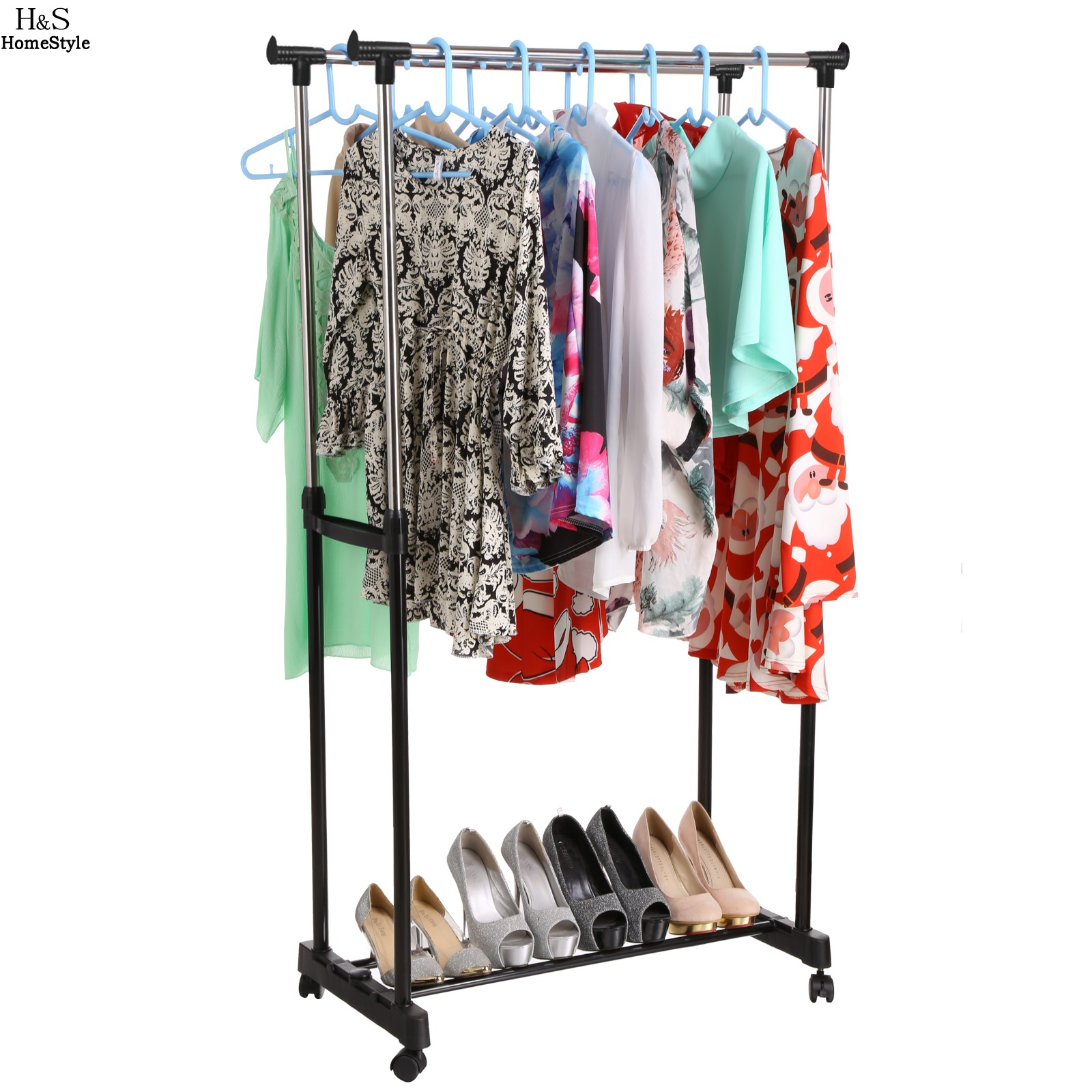 Portable Adjustable Clothing Racks Double Clothes Garment <font><b>Drying</b></font> Hanging Racks Hangers With Castors and Shoe Rack N20A