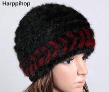 Women Real mink fur hat winter fur hat Russian Women Winter Hat Beanie