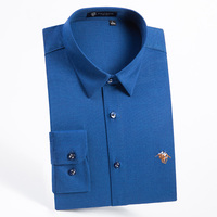 Men S Easy Care Solid Bamboo Fiber Dress Shirt With Embroidered Logo Elastic Casual Regular Fit