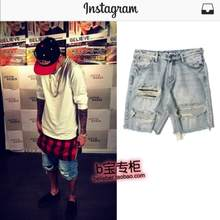 ec5e6b4a3ce 28-38 New 2018 Justin Bieber men s clothing Summer fashion break Cowboy  hole SHORTS plus size stage singer costumes