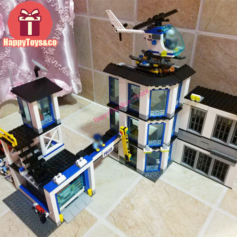 Lepin City series 60141 965Pcs The New Police Station toys For Children Gift 02020 Building Blocks Set Compatible Education dhl lepin 02020 965pcs city series the new police station set model building set blocks bricks children toy gift clone 60141
