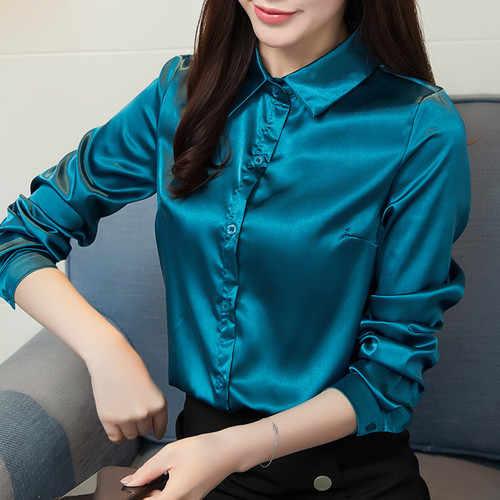 cb0b643c056cc Detail Feedback Questions about Stinlicher Satin Silk Shirt Women Autumn Long  Sleeve Elegant Work Wear Tops Korean Fashion Purple Green Blue Blouse Shirt  on ...