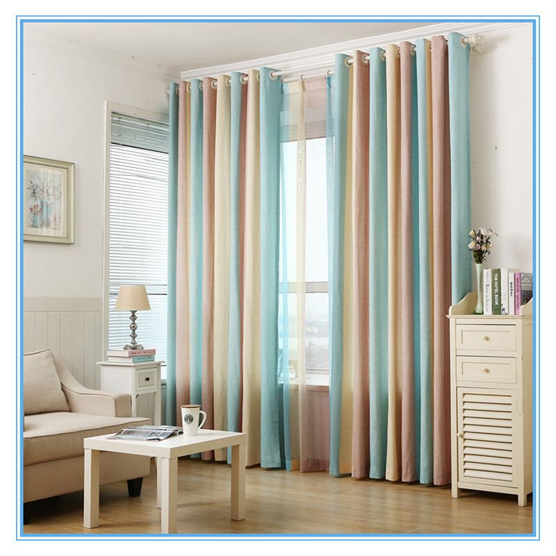 Sky blue korean modern minimalist high grade striped linen for Korean minimalist house