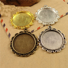 5pcs Vintage Gold Silver Flower Pendant Cabochon Settings Base Bezel Trays Blank Fit 25mm Cabochons DIY Necklace Making Jewelry 10pcs fit 25mm stainless steel cabochon base diy blank cameo pendant bezel settings diy jewelry necklace trays