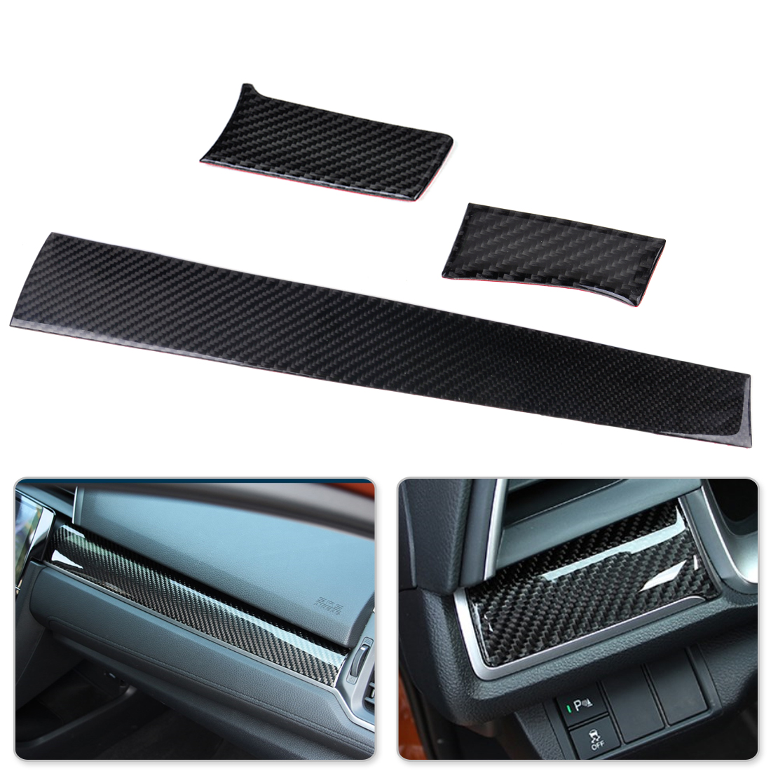 CITALL 3pcs Car Black Carbon Fiber Center Console Dashboard Cover Trim Sticker Fit for Honda Civic 10th 2016