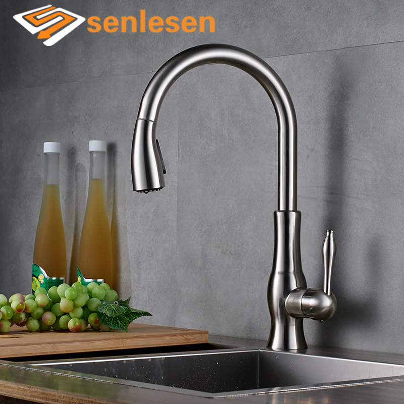 Wholesale And Retail Luxury Chrome Brass 360 Swivel Spout Kitchen Faucet Single Handle Hole Vessel Sink Mixer Tap new pull out swivel chrome brass kitchen faucet spout vessel basin sink single handle deck mounted mixer tap mf 446