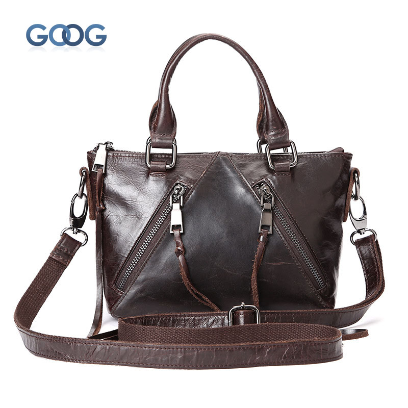 New casual leather postman bag head layer of oil wax cowhide shoulder oblique cross female bag European and American style fashi europe and the new spring and summer leather handbag bag simple cross head layer cowhide temperament mini bag tote bag